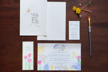 calligrapher-and-watercolor-design-cards-displayed